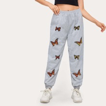 Butterfly Print Sweat Joggers