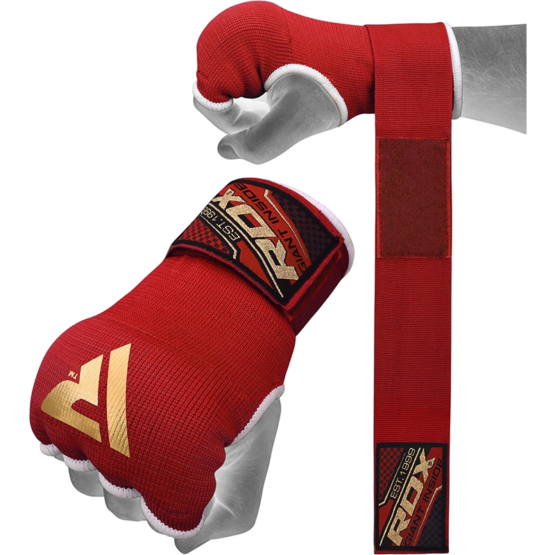 RDX Inner Gloves Gel Padded with 75cm Wrist Wrap Small Red/Black/Golden