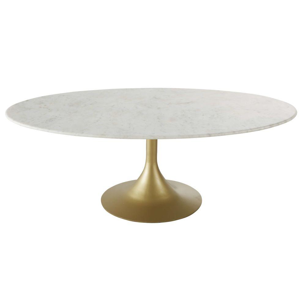 Ovaler Couchtisch aus weissem Marmor und messingfarbenem Metall Manisa
