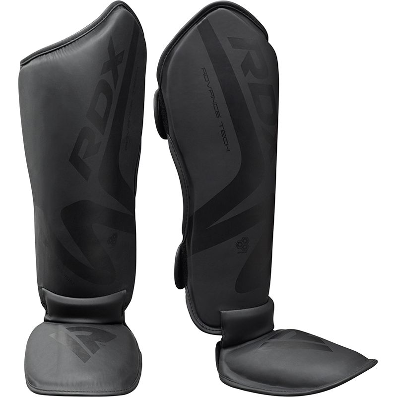 RDX T15 Noir Espinilleras con Empeine Cuero PU Negro Mediano