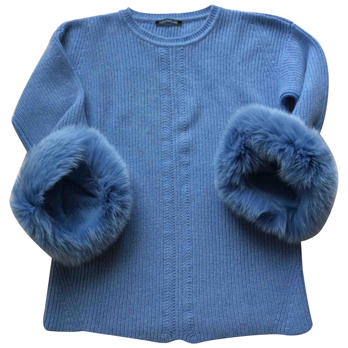 Flavio Castellani - Pull   pour femme en laine - bleu