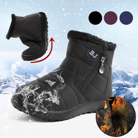 Yoins  Black Warm Fur Lining Waterproof Antiskid Boots