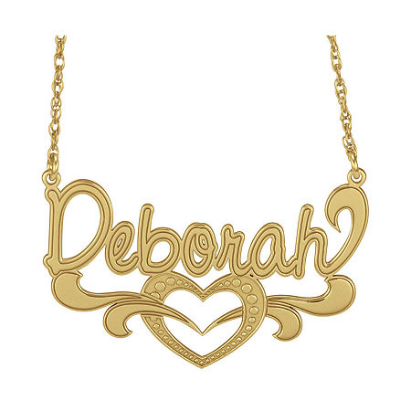 Personalized 14K Gold Over Silver Name Heart Pendant Necklace, One Size , Yellow