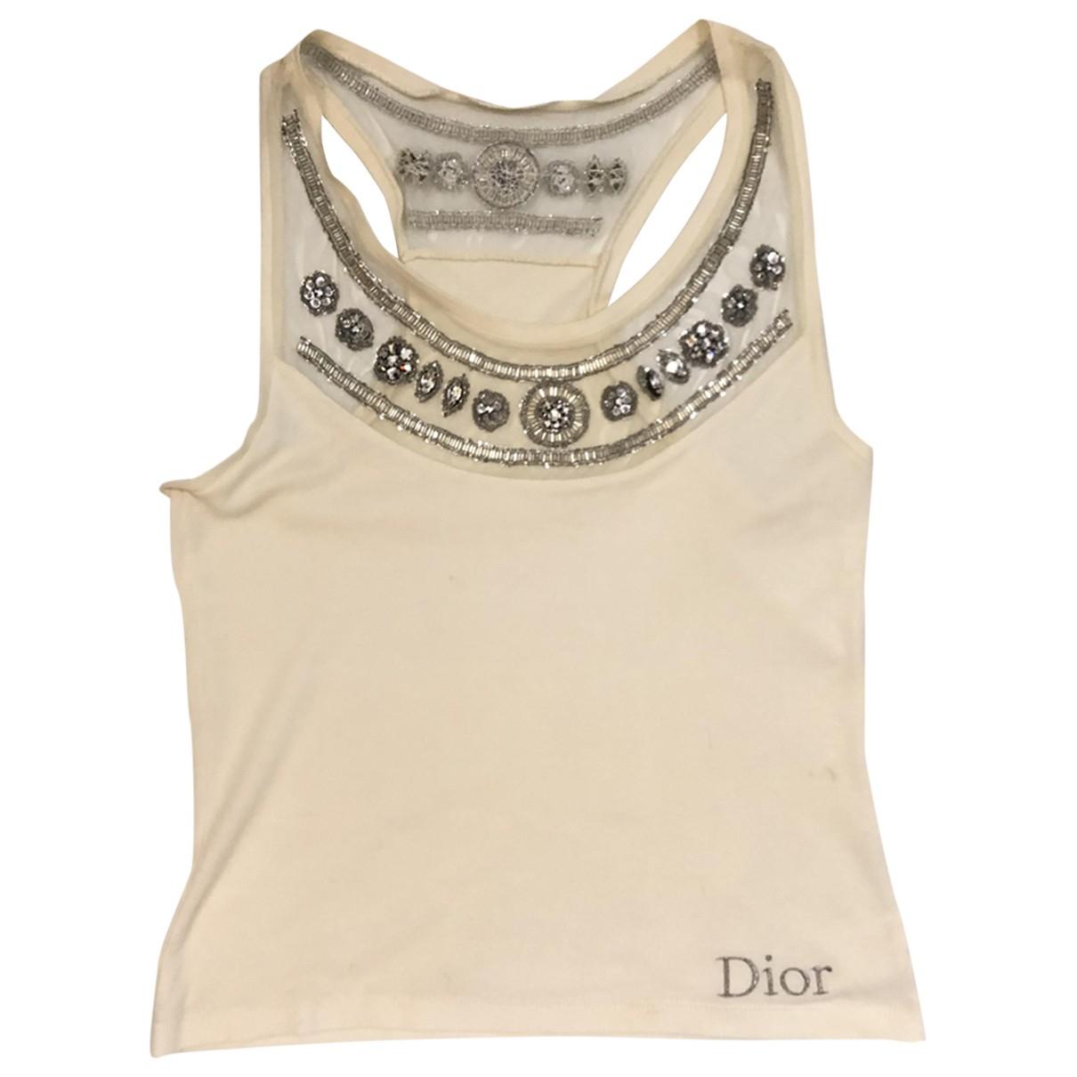 Christian Dior - Top   pour femme en coton - ecru