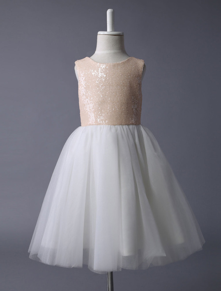 Milanoo Champagne Flower Girl Dress Sequin Tulle Pageant Dress A Line Knee Length Toddler's Dinner Dress With Bow Sash