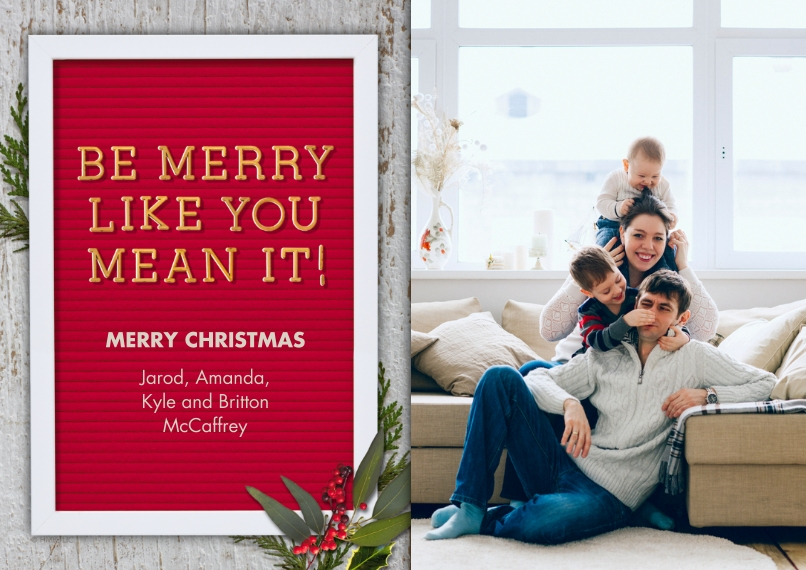 Christmas Photo Cards 5x7 Cards, Premium Cardstock 120lb, Card & Stationery -Be Merry Letter Board