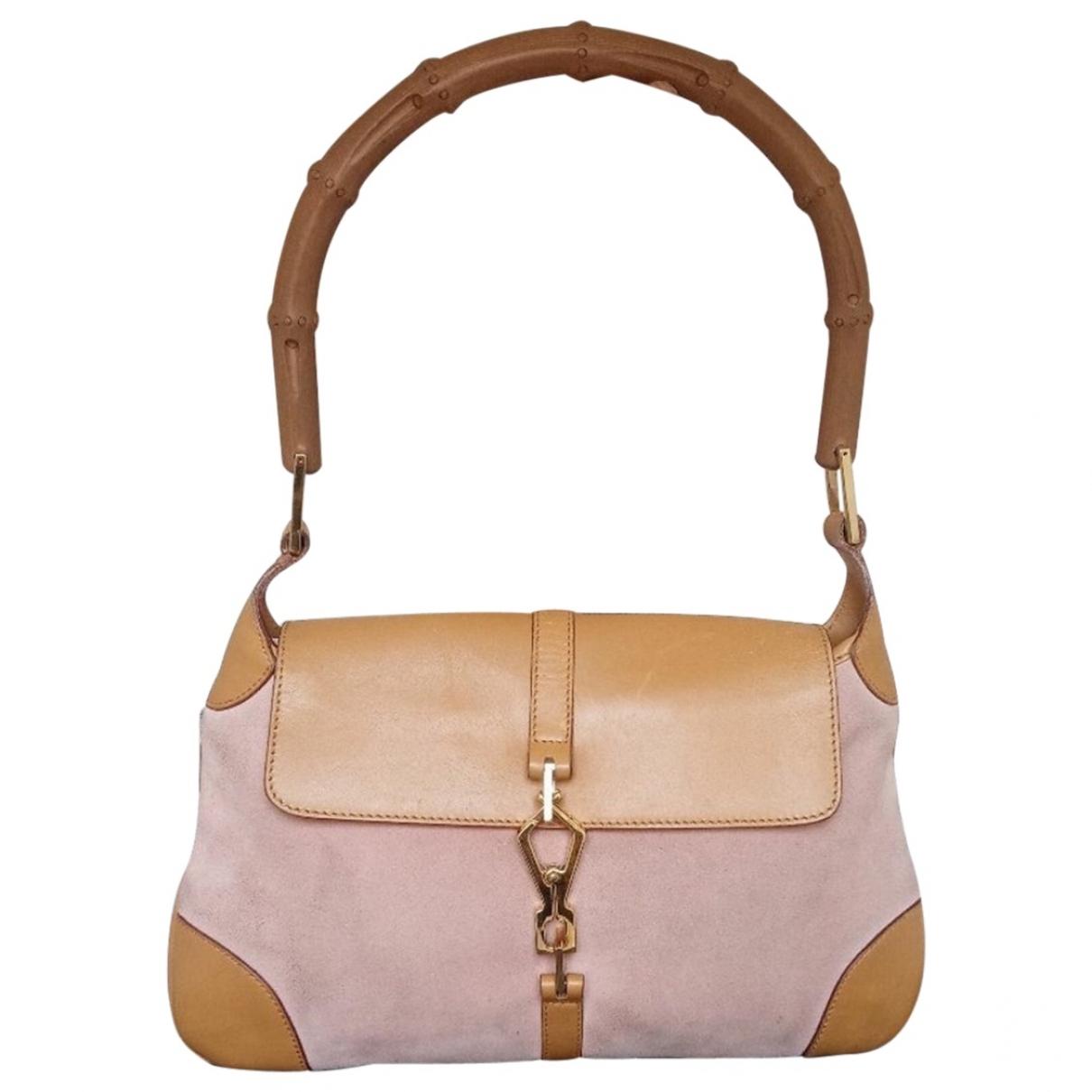 Gucci Bamboo Handtasche in  Rosa Veloursleder