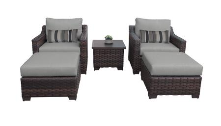 RIVER-05b-GREY Kathy Ireland Homes and Gardens River Brook 5-Piece Wicker Patio Set 05b - 1 Set of Truffle and 1 Set of Slate