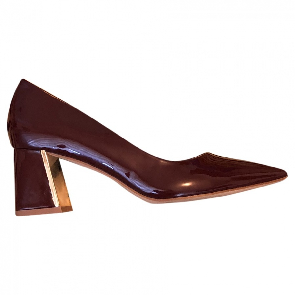 Zara \N Burgundy Patent leather Heels for Women 38 EU