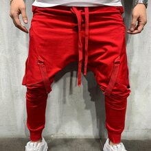 Men Ribbons Detail Exaggerate Pocket Pants