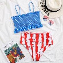 Bañador bikini fruncido smocked de rayas con estrella