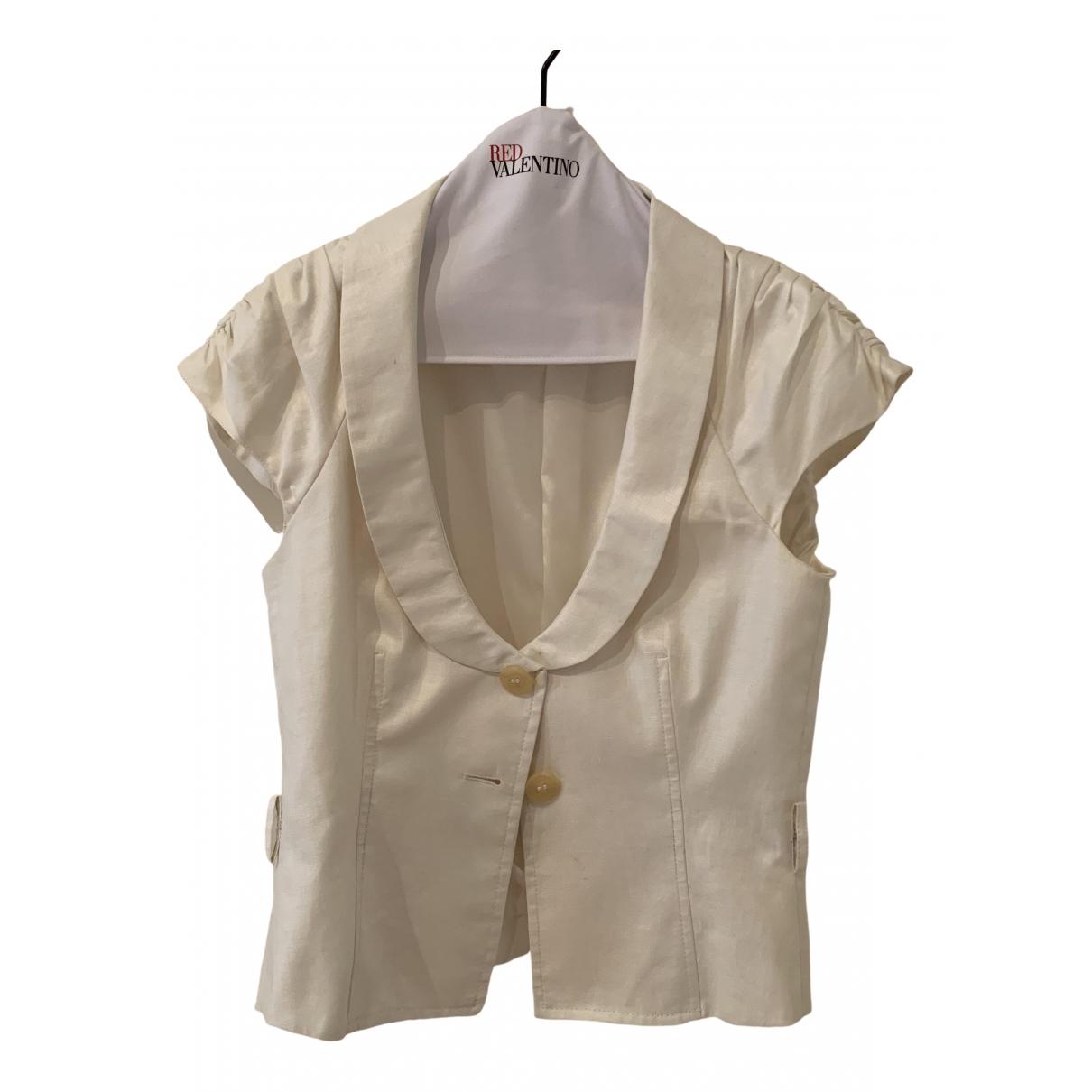 Red Valentino Garavani - Veste   pour femme en lin - blanc