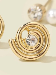 3pairs Rhinestone & Pearl Decor Stud Earrings
