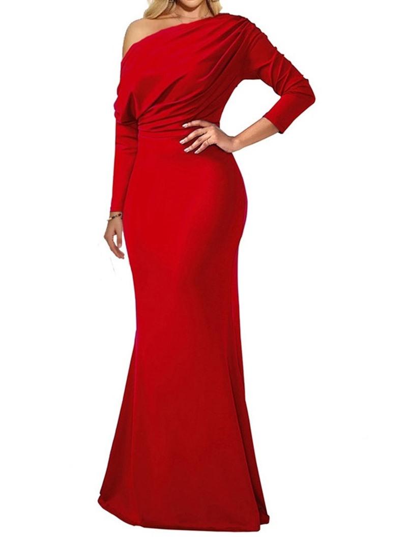 Ericdress Floor-Length Long Sleeve Pleated Plain Pullover Dress
