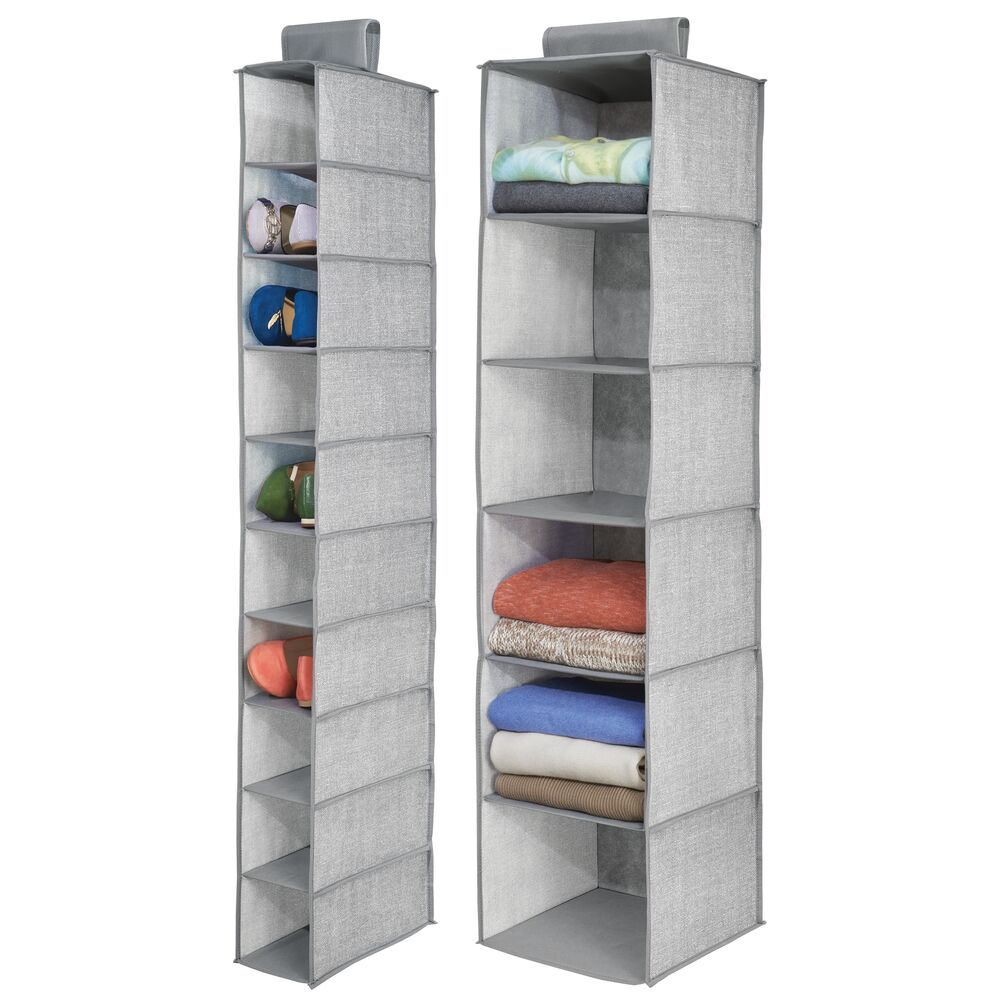 Fabric Hanging Closet Organizer Storage Combo - Set of in Gray, 11.75