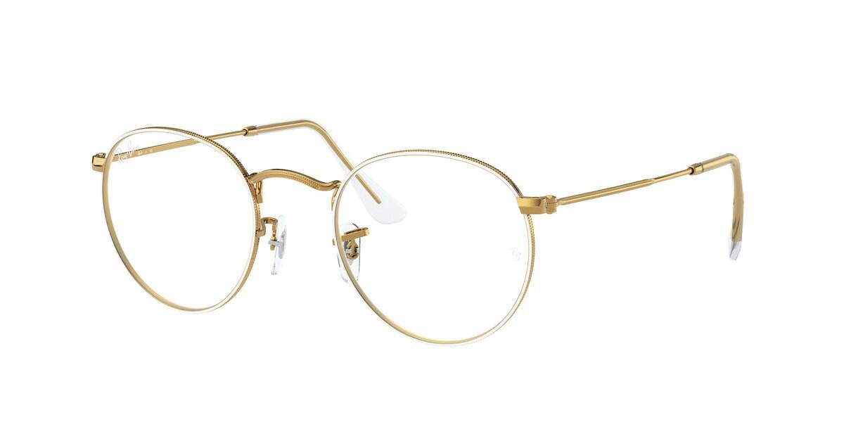 Ray-Ban RX3447V Round Metal 3104 Men's Glasses White Size 47 - HSA/FSA Insurance - Blue Light Block Available