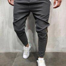 Hose mit Karo, Streifen Muster und Kordelzug