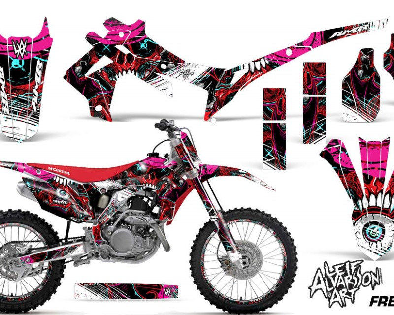 AMR Racing Graphics MX-NP-HON-CRF450R-13-16-FZ R Kit Decal Sticker Wrap + # Plates For Honda CRF450R 2013-2016áFRENZY RED