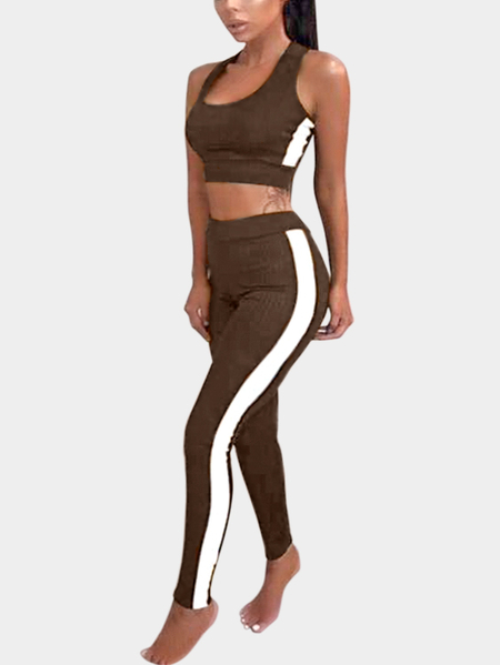 Yoins Active Contract Color Sleeveless Tracksuit in Brown
