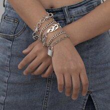5pcs Flame & Lock Design Chain Bracelet