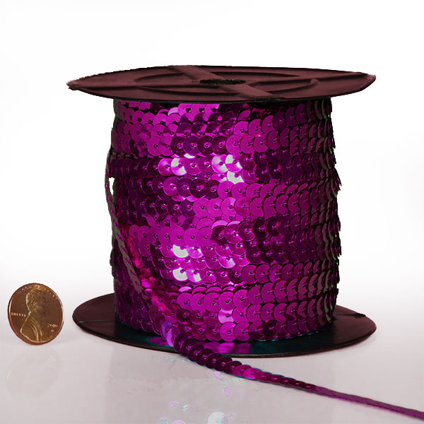 Cord 4mm X 80 Yards Hot Pink Metallic Flat Sequins by Ribbons.com