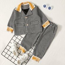 Toddler Boys Slogan Graphic Houndstooth Top & Pants