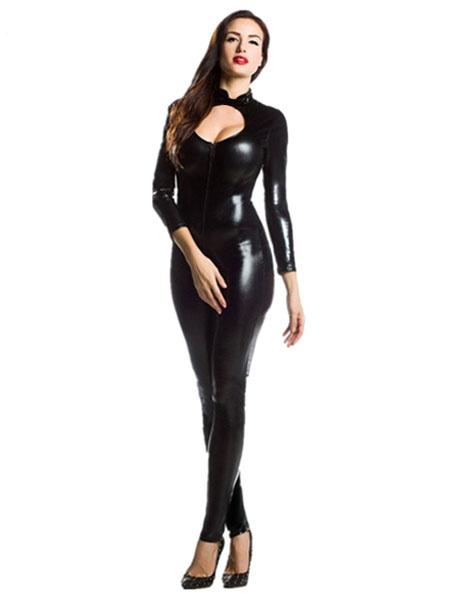 Milanoo Disfraz Halloween Zentai negro corte Sexy brillante metalico mono para las mujeres Halloween