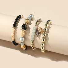 4pcs Leaf Charm Beaded Bracelet