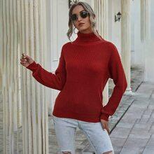 Turtleneck Chunky Knit Drop Shoulder Sweater