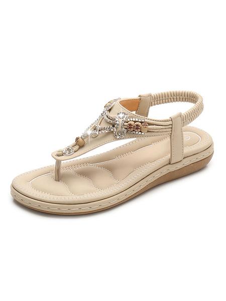 Milanoo Apricot Women Flat Sandals Thong Rhinestones Slingbacks Strap Beach Sandals