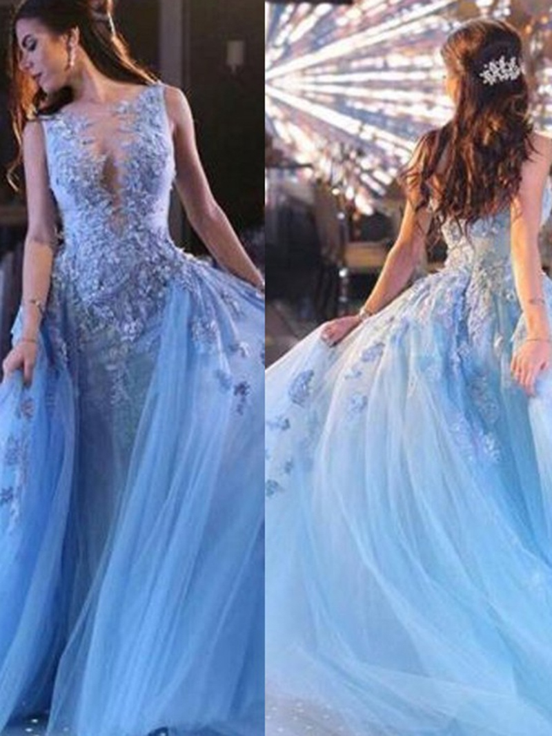 Ericdress Floor-Length Ball Gown Sweep/Brush Sleeveless Prom Dress 2020