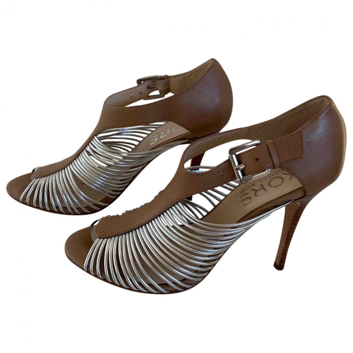 Michael Kors - Sandales   pour femme en cuir - beige