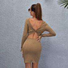Strick Kleid mit Twist hinten