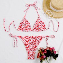 Ditsy Floral Triangle Tie Side Bikini Swimsuit