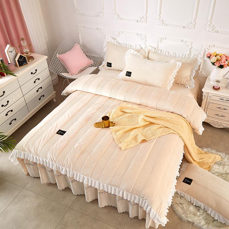 Simple Stripes Pattern Beige Solid Color Crystal Velvet Polyester Bed Skirt