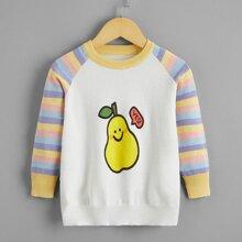Toddler Girls Cartoon Pattern Raglan Sleeve Sweater