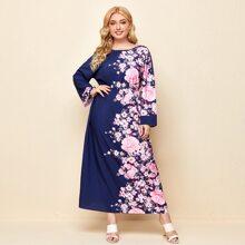 Plus Drop Shoulder Floral Dress