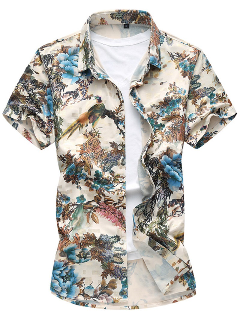 Ericdress Floral Print Short Sleeve Vogue Casual Mens Shirt