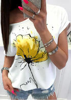 Floral O-Neck T-Shirt Tee without Necklace - White