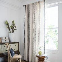 1pc Geometric Pattern Tassel Trim Curtain