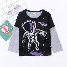 2 In 1 T-Shirt mit Figur Grafik