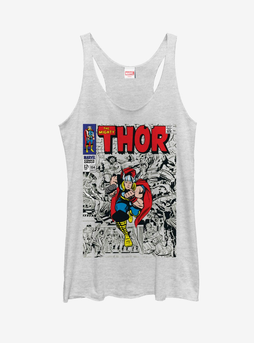 Marvel Mighty Thor Comic Book Cover Womens Tank Top