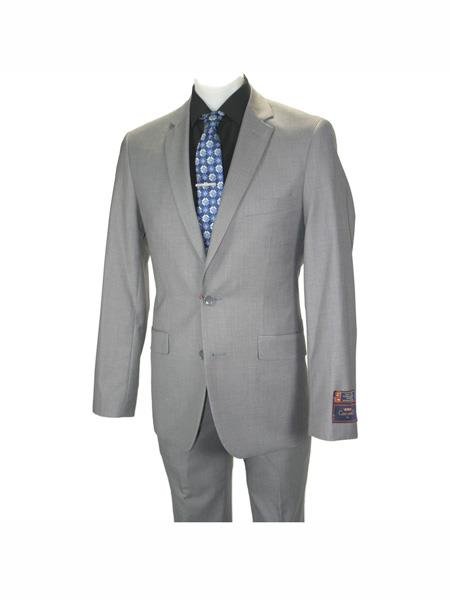 Carlo Lusso mens 2 button fully lined notch lapel slim fit Gray suit