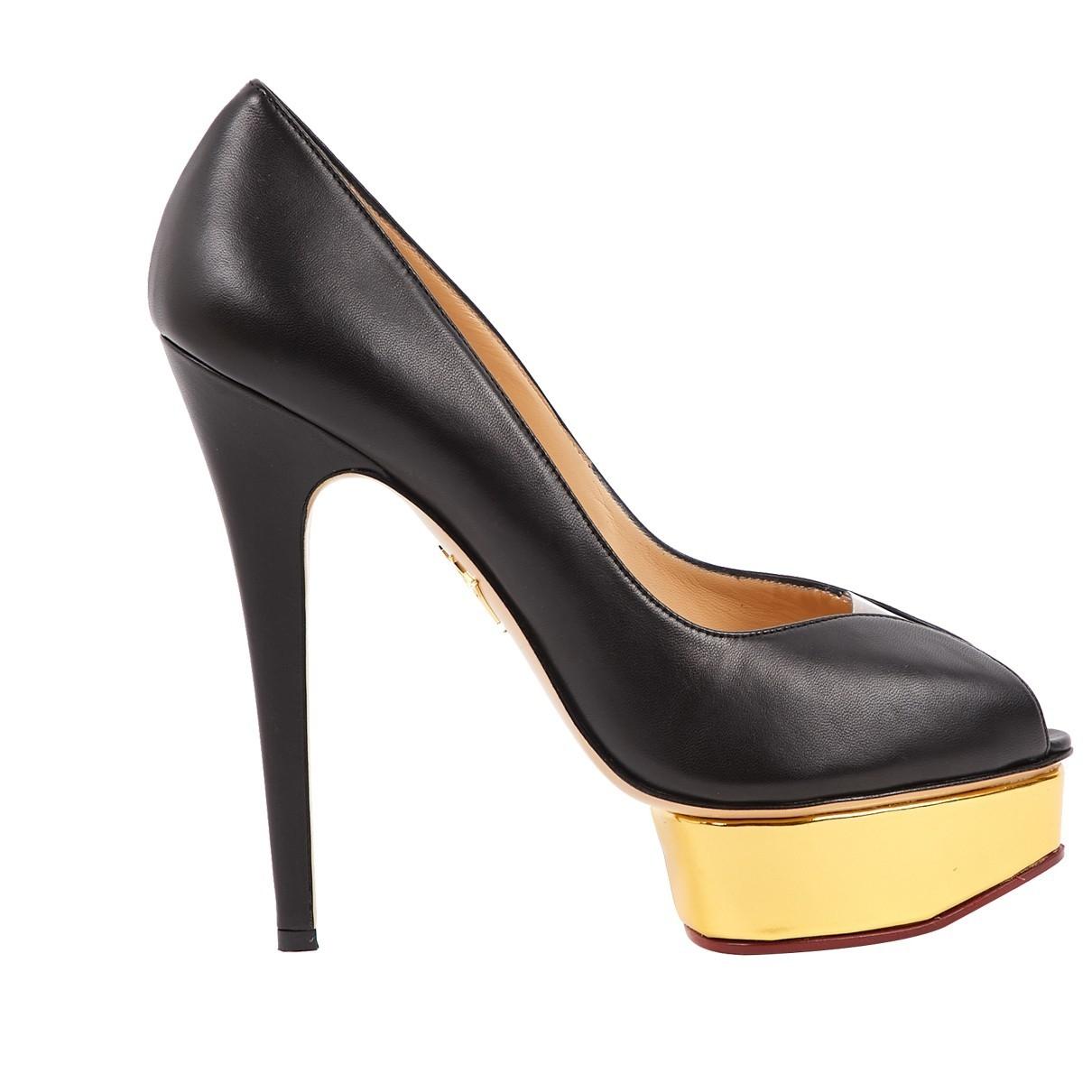 Charlotte Olympia \N Black Leather Heels for Women 39.5 EU