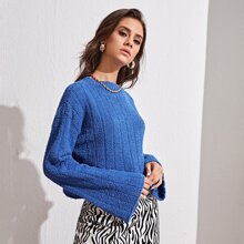 Strick Crop Pullover mit sehr tief angesetzter Schulterpartie