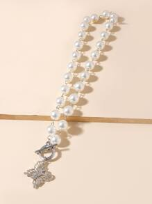 Butterfly Charm Faux Pearl Beaded Necklace