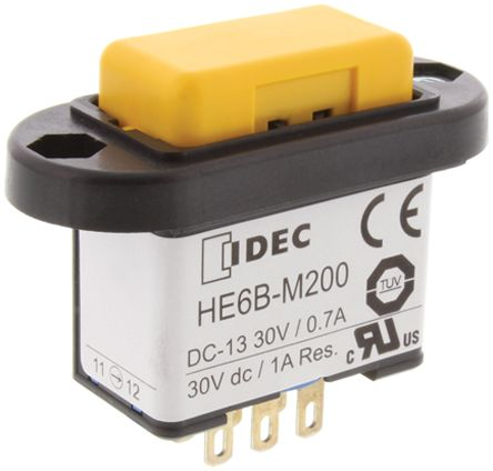 Idec Double Pole Double Throw (DPDT) Latching Enabling Switch, IP65, Panel Mount, 125/250V