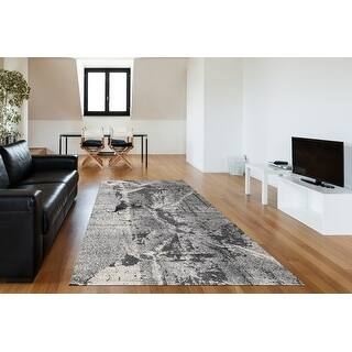 Porch & Den Somes Abstract Pattern Area Rug (100 x 140 - Charcoal/Grey)
