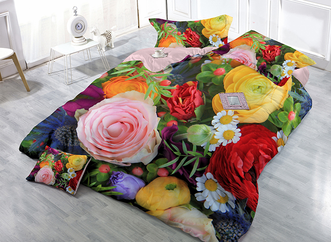 Vibrant Colorful Flowers Wear-resistant Breathable High Quality 60s Cotton 4-Piece 3D Bedding Sets