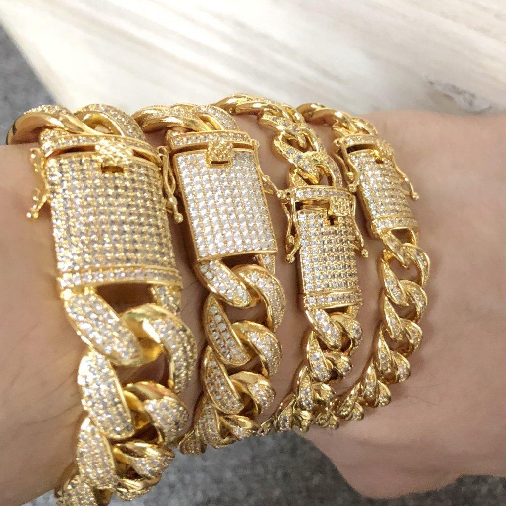 .925 Silver Gold Miami Cuban CZ Bling Bracelet Ice Lock